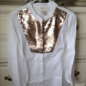 Sundance Catalog $118 sequin embellished blouse S